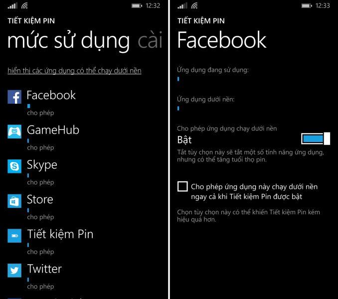 Cách tiết kiệm pin trên thiết bị chạy Windows Phone, tăng thời gian sử dụng pin