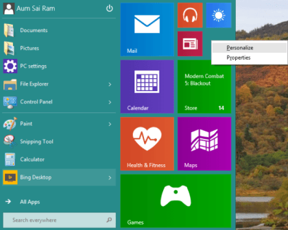 Hướng dẫn thay đổi màu sắc và kích thước Start Menu trên Windows 10