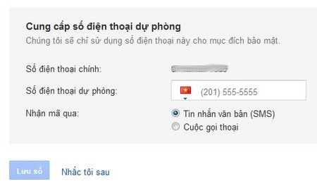 Bảo mật tài khoản Gmail bằng cách dùng số điện thoại thứ 2 để dự phòng