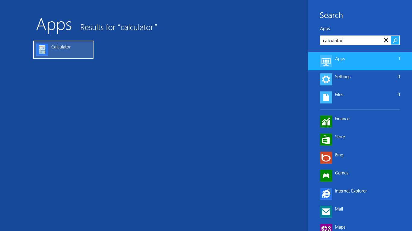 Calculator tren Windows 8 1