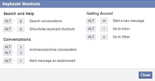 Tổng hợp các phím tắt sử dụng Facebook trên trình duyệt Web 1