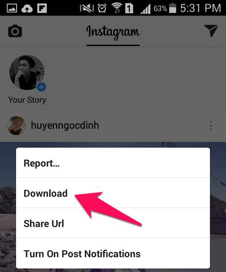 cách tải ảnh Instagram trên Android