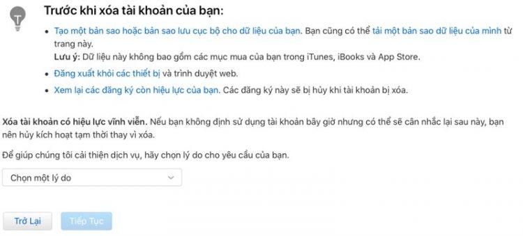 cách xóa vĩnh viễn tài khoản Apple ID hay tài khoản iCloud 4