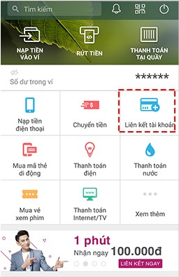 Cách liên kết ví MoMo với ngân hàng Vietcombank 1