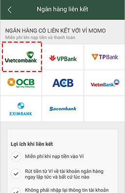Cách liên kết ví MoMo với ngân hàng Vietcombank 2
