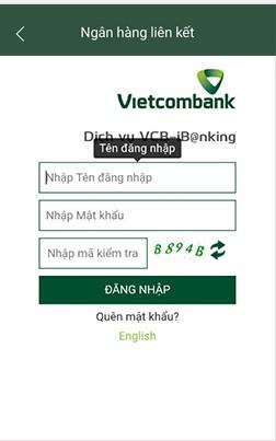 Cách liên kết ví MoMo với ngân hàng Vietcombank 3