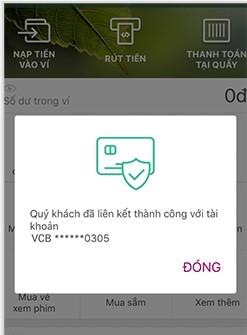 Cách liên kết ví MoMo với ngân hàng Vietcombank 6