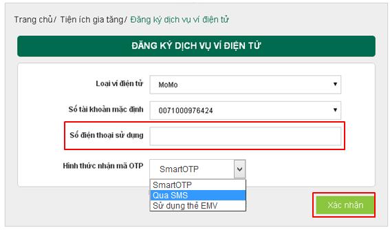Cách liên kết ví MoMo với ngân hàng Vietcombank 8