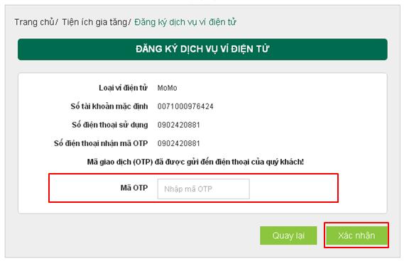Cách liên kết ví MoMo với ngân hàng Vietcombank 9