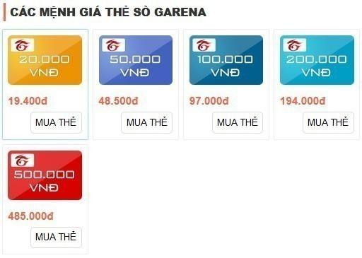 mệnh giá thẻ Garena, mệnh giá sò Garena 1